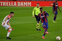 13th February 2021; Camp Nou, Barcelona, Catalonia, Spain; La Liga Football, Barcelona versus Deportivo Alaves; Junior Firpo Barcelona defender clears into midfield