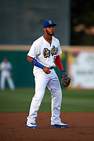 Rancho Cucamonga Quakes third baseman Cristian Santana (5) during a California League game against the Lake Elsinore Storm at LoanMart Field on May 18, 2018 in Rancho Cucamonga, California. Lake Elsinore defeated Rancho Cucamonga 5-4. (Zachary Lucy/Four Seam Images)