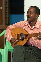 Zanzibar, Tanzania.  Taarab Musicians.  Culture Musical Club.  Oud Player.