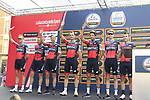BMC Racing Team at sign on before the start of the 99th edition of Milan-Turin 2018, running 200km from Magenta Milan to Superga Basilica Turin, Italy. 10th October 2018.<br /> Picture: Eoin Clarke | Cyclefile<br /> <br /> <br /> All photos usage must carry mandatory copyright credit (© Cyclefile | Eoin Clarke)