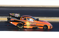 Oct 14, 2019; Concord, NC, USA; NHRA funny car driver Mike McIntire Jr during the Carolina Nationals at zMax Dragway. Mandatory Credit: Mark J. Rebilas-USA TODAY Sports