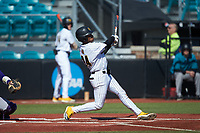 Marcerio Allen (24) of the Kennesaw State Owls follows through on his swing against the Western Carolina Catamounts at Springs Brooks Stadium on February 22, 2020 in Conway, South Carolina. The Owls defeated the Catamounts 12-0.  (Brian Westerholt/Four Seam Images)