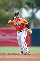 Baltimore Orioles second baseman Alejandro Juvier (28) during an Instructional League game against the Tampa Bay Rays on September 19, 2016 at Ed Smith Stadium in Sarasota, Florida.  (Mike Janes/Four Seam Images)