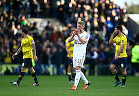Stephen Kingsley of Swansea applauds the fans   during the Emirates FA Cup 3rd Round between Oxford United v Swansea     played at Kassam Stadium  on 10th January 2016 in Oxford