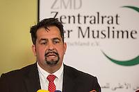 """Treffen des Zentralrat der Muslime mit AfD-Parteispitze am 23. Mai 2016 im Regent-Hotel in Berlin.<br /> Der Zentralrat der Muslime (ZDM) hatte fuehrende AfD-Politiker zu einem Gespraech eingeladen, um ueber diskriminierende und islamfeindliche Ausserungen und Passagen im AfD-Parteiprogramm zu reden. Die AfD-Politiker liessen das Gespraech nach kurzer Zeit platzen und beschuldigten den ZDM """"nicht auf Augenhoehe"""" mit der AfD reden und sie """"erpressen"""" zu wollen.<br /> Im Bild: Aiman Mazyek, Vorsitzender des Zentralrat.<br /> 23.5.2016, Berlin<br /> Copyright: Christian-Ditsch.de<br /> [Inhaltsveraendernde Manipulation des Fotos nur nach ausdruecklicher Genehmigung des Fotografen. Vereinbarungen ueber Abtretung von Persoenlichkeitsrechten/Model Release der abgebildeten Person/Personen liegen nicht vor. NO MODEL RELEASE! Nur fuer Redaktionelle Zwecke. Don't publish without copyright Christian-Ditsch.de, Veroeffentlichung nur mit Fotografennennung, sowie gegen Honorar, MwSt. und Beleg. Konto: I N G - D i B a, IBAN DE58500105175400192269, BIC INGDDEFFXXX, Kontakt: post@christian-ditsch.de<br /> Bei der Bearbeitung der Dateiinformationen darf die Urheberkennzeichnung in den EXIF- und  IPTC-Daten nicht entfernt werden, diese sind in digitalen Medien nach §95c UrhG rechtlich geschuetzt. Der Urhebervermerk wird gemaess §13 UrhG verlangt.]"""