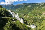 Switzerland, Canton Valais, Hérémence - district Euseigne: village at valley Val d'Hérens, known for the hoodoos (fairy chimneys, earth pyramids) named Pyramides d'Euseigne | Schweiz, Kanton Wallis, Hérémence - Ortsteil Euseigne: Dorf im Val d'Hérens (Eringertal), bekannt fuer seine Erdpyramiden von Euseigne - Pyramides d'Euseigne