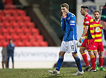St Johnstone v Partick Thistle…02.03.16  SPFL McDiarmid Park, Perth<br />David Wotherspoon holds his head<br />Picture by Graeme Hart.<br />Copyright Perthshire Picture Agency<br />Tel: 01738 623350  Mobile: 07990 594431