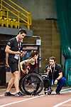 MONTREAL, QC - APRIL 29:  A participant is given instructions prior to her sprinting test during the 2017 Montreal Paralympian Search at Complexe sportif Claude-Robillard. Photo: Minas Panagiotakis/Canadian Paralympic Committee