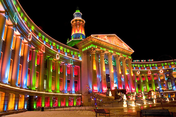 Denver City and County Courthouse with Christmas lighting in Civic Center Park, Denver, Colorado. .  John offers private photo tours in Denver, Boulder and throughout Colorado. Year-round Colorado photo tours.