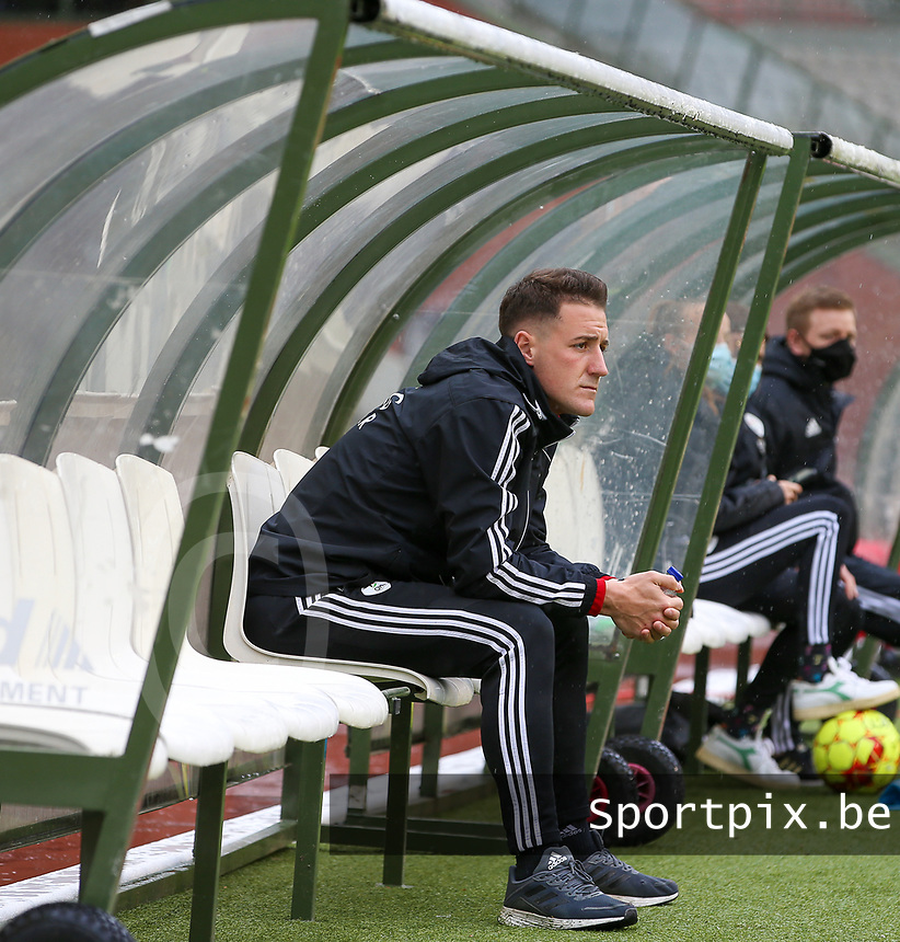 Head coach Jimmy Coenraets of OHL pictured before a female soccer game between RSC Anderlecht Dames and Oud Heverlee Leuven on the seventh matchday of play off 1 of the 2020 - 2021 season of Belgian Womens Super League , saturday 15 th of May 2021  in Brussels , Belgium . PHOTO SPORTPIX.BE | SPP | SEVIL OKTEM