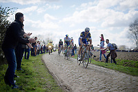 Tom Boonen (BEL/Etixx-QuickStep) in sector 8: Pont-Thibaut to Ennevelin (1.4km)<br /> <br /> 114th Paris-Roubaix 2016