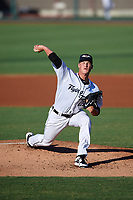 Lakeland Flying Tigers starting pitcher Matt Manning (21) delivers a pitch during a game against the Fort Myers Miracle on August 7, 2018 at Publix Field at Joker Marchant Stadium in Lakeland, Florida.  Fort Myers defeated Lakeland 5-0.  (Mike Janes/Four Seam Images)