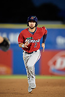 Fort Myers Miracle second baseman Alex Perez (2) advances to third base on a ground out during a game against the Dunedin Blue Jays on April 17, 2018 at Dunedin Stadium in Dunedin, Florida.  Dunedin defeated Fort Myers 5-2.  (Mike Janes/Four Seam Images)