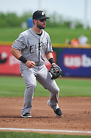 El Paso Chihuahuas Ryan Schimpf (3) plays third base during the game against the Omaha Storm Chasers at Werner Park on May 30, 2016 in Omaha, Nebraska.  El Paso won 12-0.  (Dennis Hubbard/Four Seam Images)