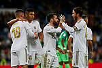 (L-R) Luka Jovic, Carlos Henrique Casimiro, Dani Carvajal and Sergio Ramos of Real Madrid celebrate goal during La Liga match between Real Madrid and CD Leganes at Santiago Bernabeu Stadium in Madrid, Spain. October 30, 2019. (ALTERPHOTOS/A. Perez Meca)