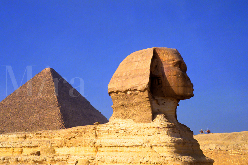 Close up of the famous Sphinx and the Pyramids of Giza in Egypt