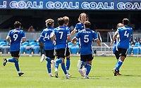SAN JOSE, CA - APRIL 24: The San Jose Earthquakes moves celebrate a goal during a game between FC Dallas and San Jose Earthquakes at PayPal Stadium on April 24, 2021 in San Jose, California.