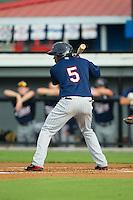 Jeremias Pineda (5) of the Elizabethton Twins at bat against the Burlington Royals at Burlington Athletic Park on June 25, 2014 in Burlington, North Carolina.  The Twins defeated the Royals 8-0. (Brian Westerholt/Four Seam Images)
