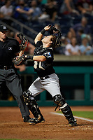 West Virginia Black Bears catcher Grant Koch (51) tracks a pop up in front of home plate umpire Benjamin Engstrand during a game against the State College Spikes on August 30, 2018 at Medlar Field at Lubrano Park in State College, Pennsylvania.  West Virginia defeated State College 5-3.  (Mike Janes/Four Seam Images)