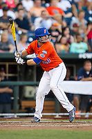 Florida Gators first baseman Peter Alonso (20) at bat against the Virginia Cavaliers in Game 13 of the NCAA College World Series on June 20, 2015 at TD Ameritrade Park in Omaha, Nebraska. The Cavaliers beat the Gators 5-4. (Andrew Woolley/Four Seam Images)