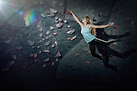 Shauna Coxsey trains at the Climbing Hangar, Liverpool, United Kingdom on April 8, 2014