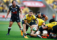 TJ Perenara of the Hurricanes during the Super Rugby match between the Hurricanes and the Cell C Sharks at Sky Stadium in Wellington, New Zealand on Saturday, 15 February 2020. Photo: Steve Haag / stevehaagsports.com