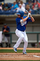 Rancho Cucamonga Quakes shortstop Gavin Lux (14) at bat during a California League game against the Lake Elsinore Storm at LoanMart Field on May 20, 2018 in Rancho Cucamonga, California. Rancho Cucamonga defeated Lake Elsinore 6-2. (Zachary Lucy/Four Seam Images)