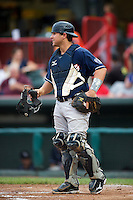 New Hampshire Fisher Cats catcher Sean Ochinko #29 during an Eastern League game against the Erie Seawolves at Jerry Uht Park on August 9, 2012 in Erie, Pennsylvania.  Erie defeated New Hampshire 6-0.  (Mike Janes/Four Seam Images)