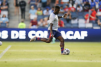 KANSAS CITY, KS - JULY 15: Daryl Dike #11 of the United States warming up before a game between Martinique and USMNT at Children's Mercy Park on July 15, 2021 in Kansas City, Kansas.