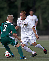 Boston College midfielder/defender Patrick Chin (9) dribbles at midfield. Boston College defeated George Mason University, 3-2, at Newton Soccer Field, August 26, 2011.