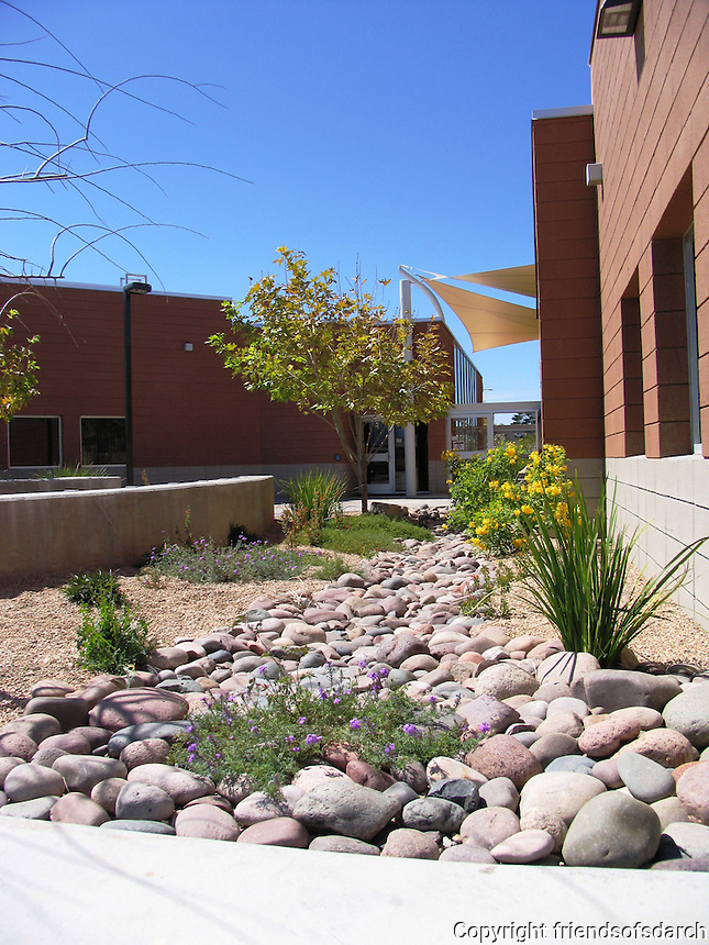 Elle Towne Community Center Facility, Tucson, AZ., 2009. Use of rock and native plants. Joy Lyndes, landscape architect.