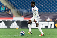 FOXBOROUGH, MA - SEPTEMBER 5: Raheem Somersall #13 of Tormenta FC looks to pass during a game between Tormenta FC and New England Revolution II at Gillette Stadium on September 5, 2021 in Foxborough, Massachusetts.