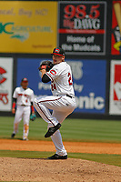 Carolina Mudcats pitcher Nate Griep (24)) on the mound during a game against the Down East Wood Ducks on April 27, 2017 at Five County Stadium in Zebulon, North Carolina. Carolina defeated Down East 9-7. (Robert Gurganus/Four Seam Images)