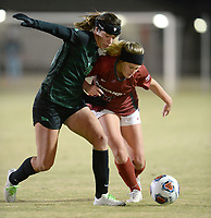 NWA Democrat-Gazette/ANDY SHUPE<br /> Arkansas' Stefani Doyle (right) and North Texas' Elle Marie DeFrain vie for control of the ball Friday, Nov. 15, 2019, during the first half of play in the first round of the NCAA women's soccer tournament at Razorback Field in Fayetteville. Visit nwadg.com/photos to see more photographs from the match.