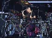 WEST PALM BEACH, FL - AUGUST 05: Ray Luzier of Korn performs at The iTHINK Financial Amphitheatre on August 5, 2021 in West Palm Beach Florida. Credit Larry Marano © 2021