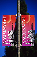 San Francisco, California - Japantown Banner, Geary Street, Showing Japanese Peace Pagoda