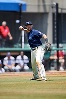 Mobile BayBears third baseman Zach Houchins (8) throws to first base during a game against the Pensacola Blue Wahoos on April 26, 2017 at Hank Aaron Stadium in Mobile, Alabama.  Pensacola defeated Mobile 5-3.  (Mike Janes/Four Seam Images)