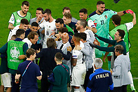 Roberto Mancini coach of Italy celebrates with his players and the italian staff at the end of the Uefa Euro 2020 round of 8 football match between Belgium and Italy at football arena in Munich (Germany), July 2nd, 2021. Photo Matteo Ciambelli / Insidefoto