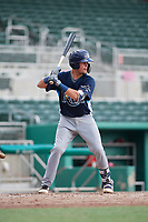 GCL Rays catcher Dawson Dimon (44) at bat during a game against the GCL Red Sox on August 1, 2018 at JetBlue Park in Fort Myers, Florida.  GCL Red Sox defeated GCL Rays 5-1 in a rain shortened game.  (Mike Janes/Four Seam Images)