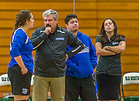 1 November 2015: Yeshiva University Women's Volleyball Volunteer Assistant Coach Gabi Katz watches play from the sidelines during a match against the SUNY College at Old Westbury Panthers at SUNY Old Westbury in Old Westbury, NY. The Panthers edged out the Maccabees 3-2 in NCAA women's volleyball, Skyline Conference play. Mandatory Credit: Ed Wolfstein Photo *** RAW (NEF) Image File Available ***