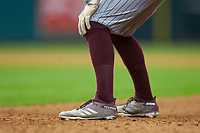 A closeup of the Adidas cleats worn by Hunter Stovall (13) of the Mississippi State Bulldogs during the game against the Sam Houston State Bearkats during game eight of the 2018 Shriners Hospitals for Children College Classic at Minute Maid Park on March 3, 2018 in Houston, Texas. The Bulldogs defeated the Bearkats 4-1.  (Brian Westerholt/Four Seam Images)