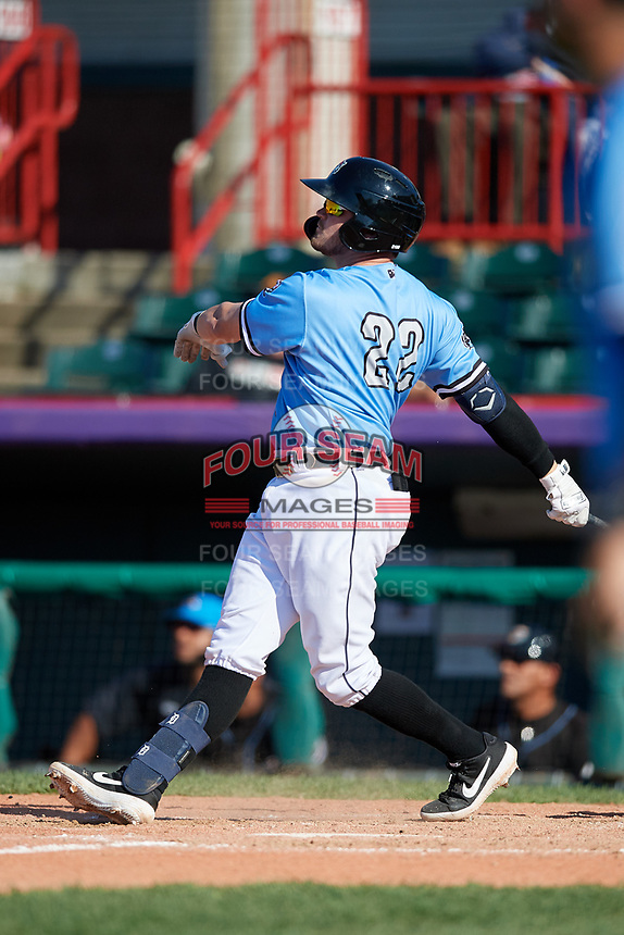 Erie SeaWolves Kody Eaves (22) hits a three run walk-off home run in the bottom of the eleventh inning during an Eastern League game against the Akron RubberDucks on June 2, 2019 at UPMC Park in Erie, Pennsylvania.  Erie defeated Akron 8-5 in eleven innings, the second game of a doubleheader.  (Mike Janes/Four Seam Images)
