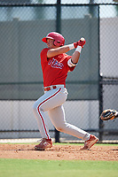Philadelphia Phillies Matt Kroon (10) follows through on a swing a Florida Instructional League game against the Atlanta Braves on October 5, 2018 at the Carpenter Complex in Clearwater, Florida.  (Mike Janes/Four Seam Images)