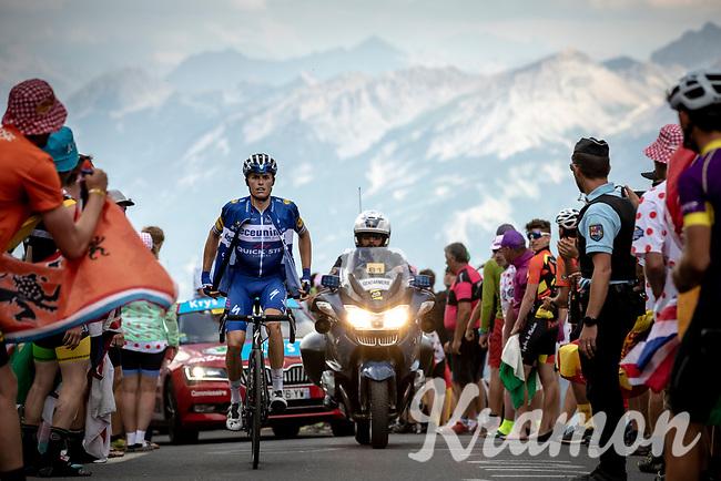 Enric Mas (ITA/Deceuninck Quick Step) putting his windjacket on up the Col du Galibier (HC/2622m/23km@5.1%)<br /> <br /> Stage 18: Embrun to Valloire (208km)<br /> 106th Tour de France 2019 (2.UWT)<br /> <br /> ©kramon