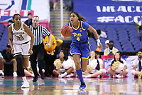 GREENSBORO, NC - MARCH 05: Emy Hayford #4 of University of Pittsburgh brings the ball up the court during a game between Pitt and Georgia Tech at Greensboro Coliseum on March 05, 2020 in Greensboro, North Carolina.