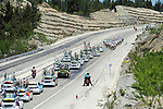 The peloton in action during Stage 5 of the 2015 Presidential Tour of Turkey running 159.9km from Mugla to Pamukkale. 30th April 2015.<br /> Photo: Tour of Turkey/Mario Stiehl/www.newsfile.ie