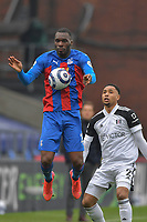 Christian Benteke of Crystal Palace controls the ball ahead of Kenny Tete of Fulham during the Premier League behind closed doors match between Crystal Palace and Fulham at Selhurst Park, London, England on 28 February 2021. Photo by Vince Mignott / PRiME Media Images.