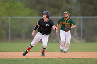 Edgewood Eagles second baseman Bryan Niznik (2) leads off second base in front of shortstop Nick Guajardo (22) during a game against the South Vermont Mountaineers on March 18, 2019 at Lee County Player Development Complex in Fort Myers, Florida.  South Vermont defeated Edgewood 19-6.  (Mike Janes/Four Seam Images)