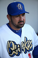 Adrian Gonzalez (8) of the Los Angeles Dodgers plays for the Rancho Cucamonga Quakes during a rehab game against the Stockton Ports at LoanMart Field on August 15, 2017 in Rancho Cucamonga California. Rancho Cucamonga defeated Stockton, 11-9. (Larry Goren/Four Seam Images)