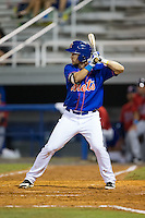Patrick Mazeika (19) of the Kingsport Mets at bat against the Elizabethton Twins at Hunter Wright Stadium on July 8, 2015 in Kingsport, Tennessee.  The Mets defeated the Twins 8-2. (Brian Westerholt/Four Seam Images)